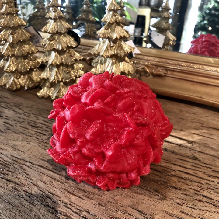 Stearinlys: Blomsterklode – rød